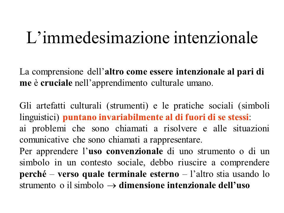 L'immedesimazione intenzionale La comprensione dell'altro come essere intenzionale al pari di me è cruciale nell'apprendimento culturale umano.