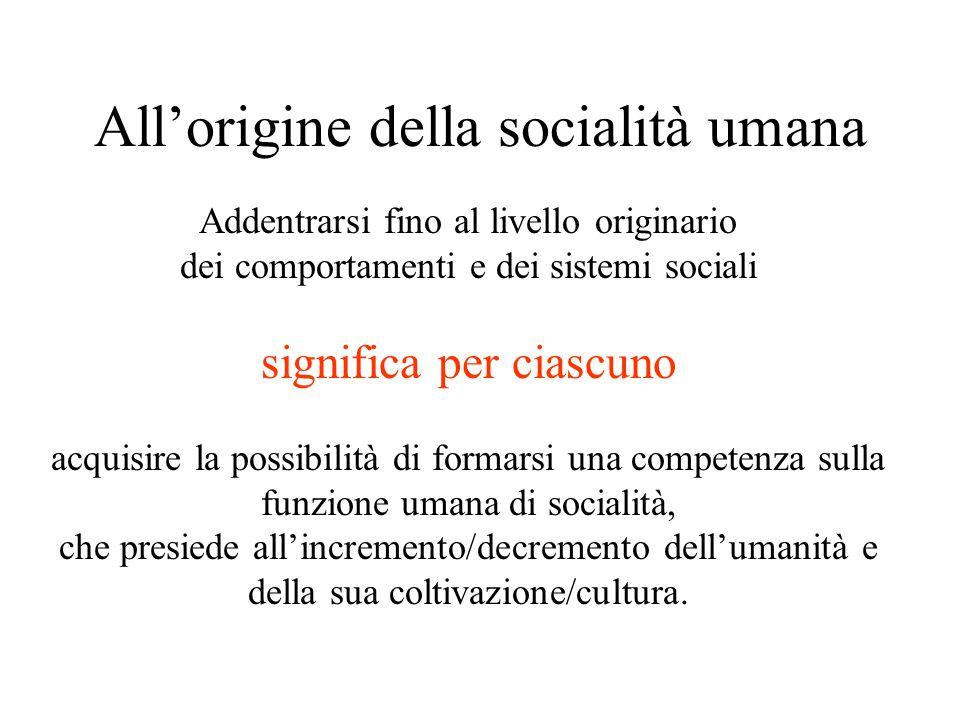 All'origine della socialità umana Addentrarsi fino al livello originario dei comportamenti e dei sistemi sociali significa per ciascuno acquisire la p