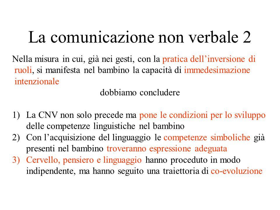 La comunicazione non verbale 2 Nella misura in cui, già nei gesti, con la pratica dell'inversione di ruoli, si manifesta nel bambino la capacità di im