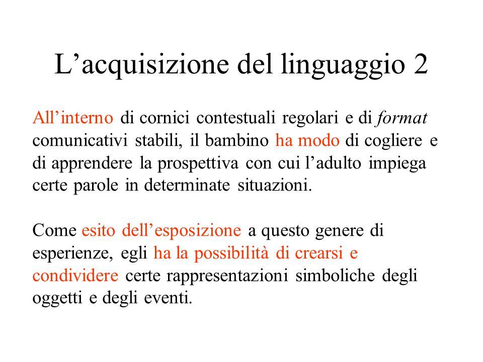 L'acquisizione del linguaggio 2 All'interno di cornici contestuali regolari e di format comunicativi stabili, il bambino ha modo di cogliere e di appr