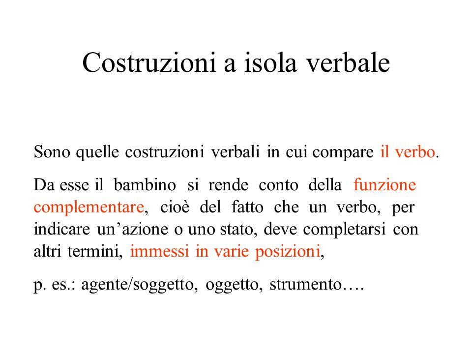 Costruzioni a isola verbale Sono quelle costruzioni verbali in cui compare il verbo. Da esse il bambino si rende conto della funzione complementare, c