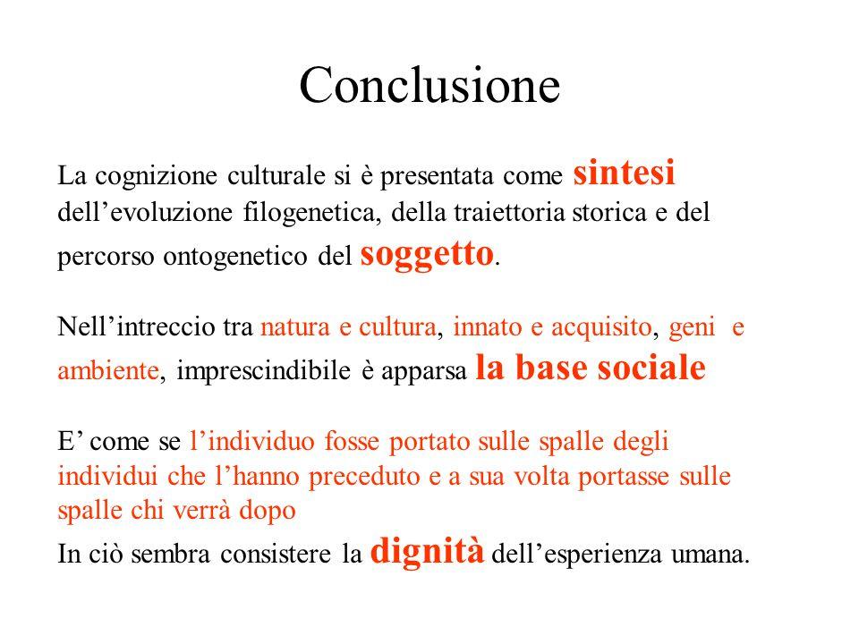 Conclusione La cognizione culturale si è presentata come sintesi dell'evoluzione filogenetica, della traiettoria storica e del percorso ontogenetico del soggetto.