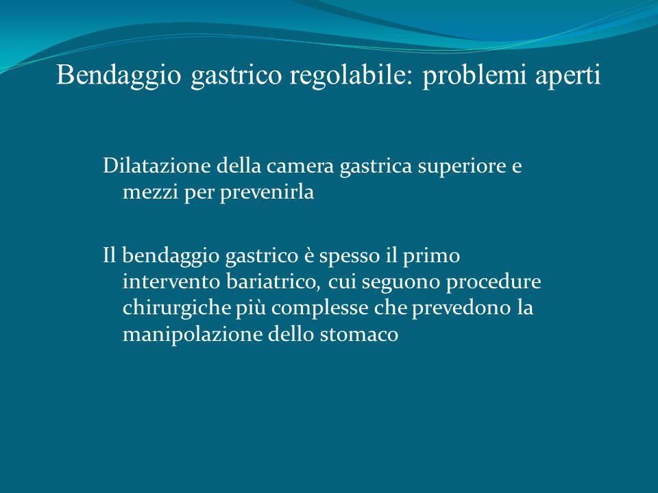 Bendaggio gastrico regolabile: problemi aperti Dilatazione della camera gastrica superiore e mezzi per prevenirla Il bendaggio gastrico è spesso il primo intervento bariatrico, cui seguono procedure chirurgiche più complesse che prevedono la manipolazione dello stomaco
