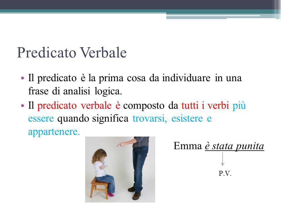 Predicato Nominale E' composto dal verbo essere più un aggettivo, da un nome o da un pronome che completano il significato del verbo Esempi: Il libro è interessante v.