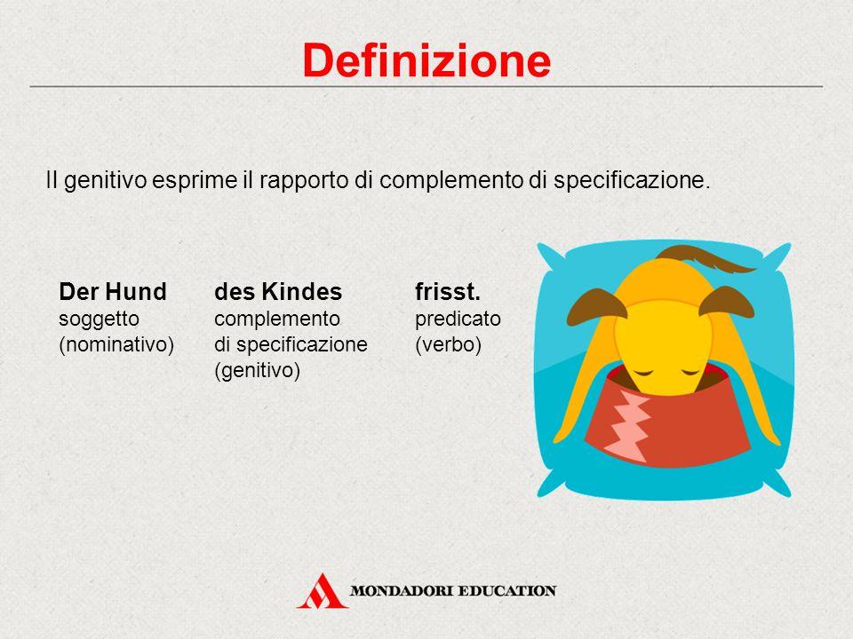Definizione Il genitivo esprime il rapporto di complemento di specificazione. Der Hund soggetto (nominativo) des Kindes complemento di specificazione