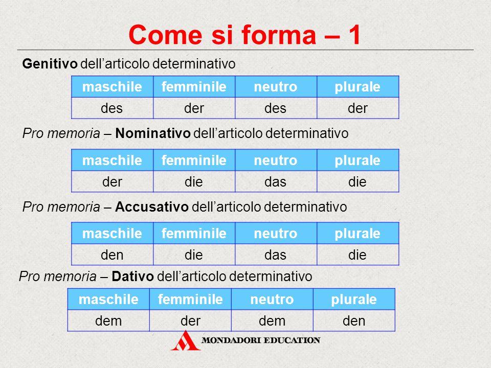 Come si forma – 1 Genitivo dell'articolo determinativo Pro memoria – Nominativo dell'articolo determinativo maschilefemminileneutroplurale desderdesde