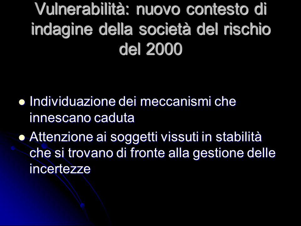 Vulnerabilità: nuovo contesto di indagine della società del rischio del 2000 Individuazione dei meccanismi che innescano caduta Individuazione dei mec