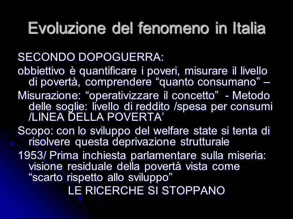 """Evoluzione del fenomeno in Italia SECONDO DOPOGUERRA: obbiettivo è quantificare i poveri, misurare il livello di povertà, comprendere """"quanto consuman"""