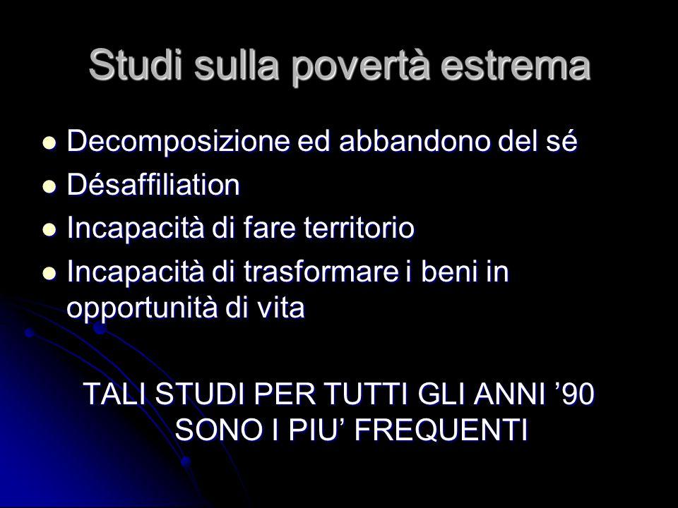 Studi sulla povertà estrema Decomposizione ed abbandono del sé Decomposizione ed abbandono del sé Désaffiliation Désaffiliation Incapacità di fare ter