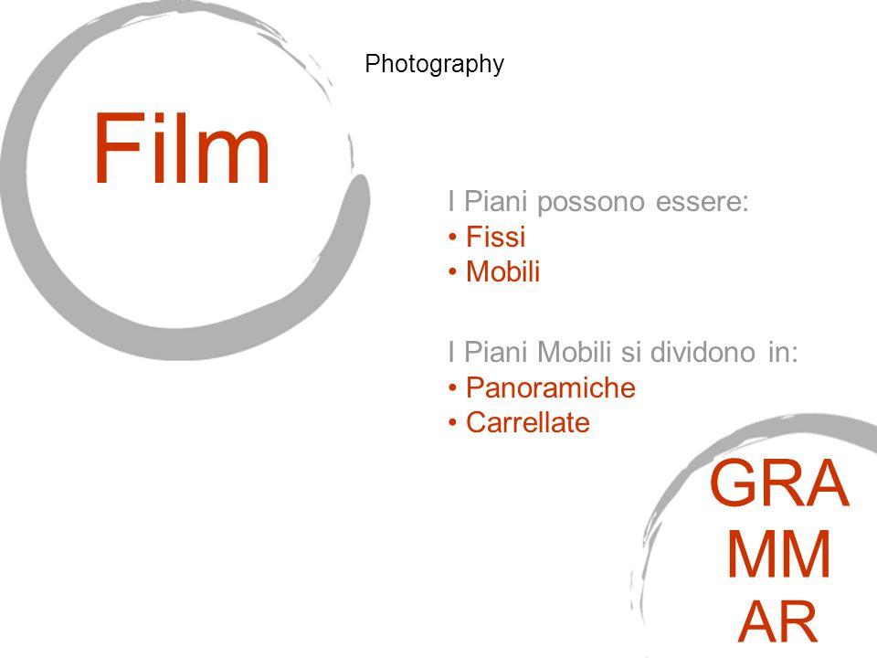 I Piani Mobili si dividono in: Panoramiche Carrellate Film GRA MM AR Photography I Piani possono essere: Fissi Mobili