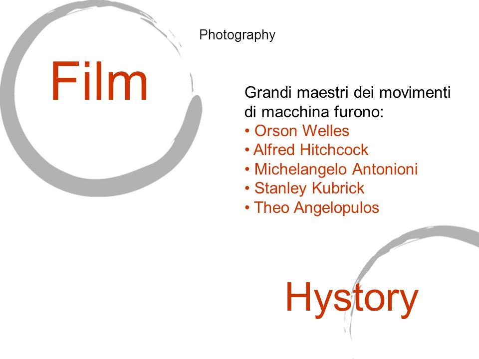 Grandi maestri dei movimenti di macchina furono: Orson Welles Alfred Hitchcock Michelangelo Antonioni Stanley Kubrick Theo Angelopulos Film Hystory Photography