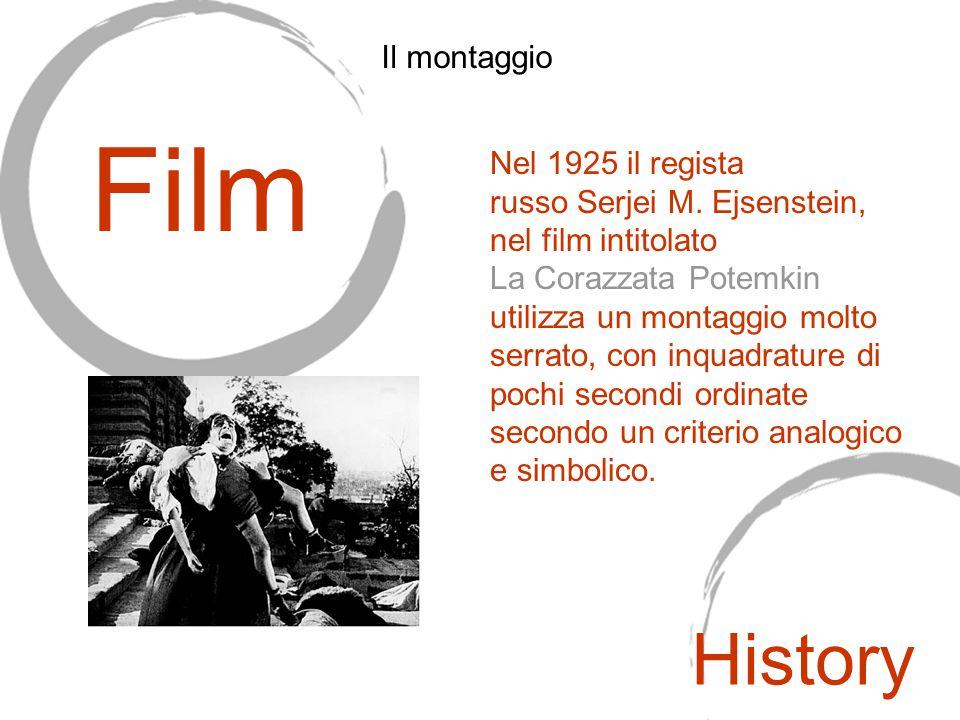 Nel 1925 il regista russo Serjei M. Ejsenstein, nel film intitolato La Corazzata Potemkin utilizza un montaggio molto serrato, con inquadrature di poc