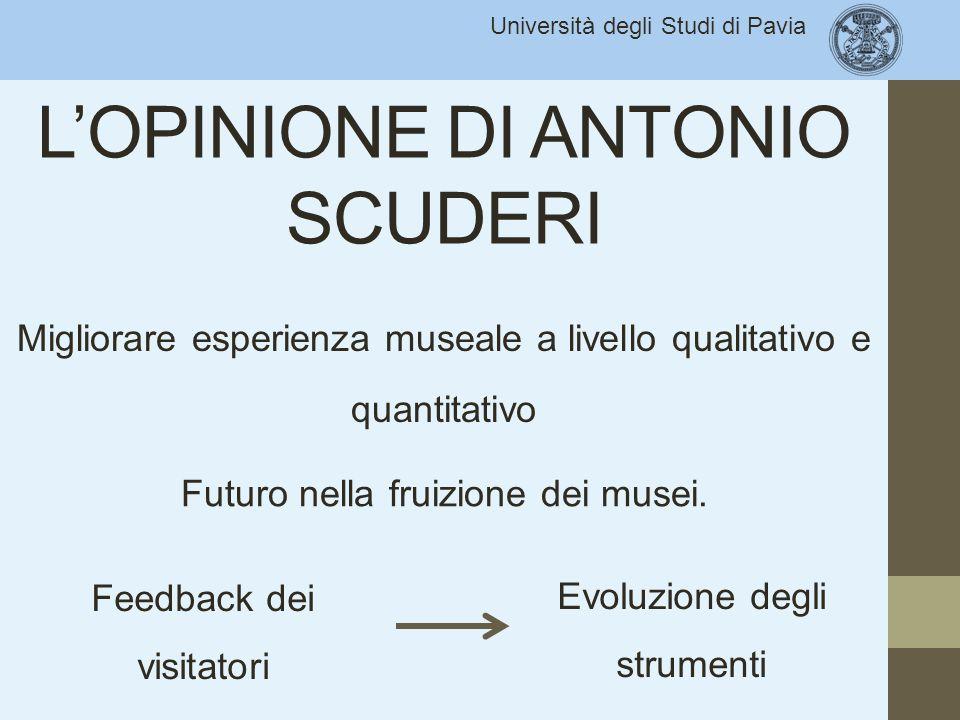 Università degli Studi di Pavia L'OPINIONE DI ANTONIO SCUDERI Migliorare esperienza museale a livello qualitativo e quantitativo Feedback dei visitato
