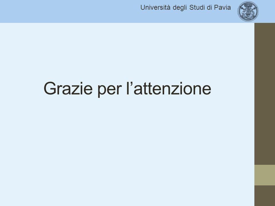 Università degli Studi di Pavia Grazie per l'attenzione