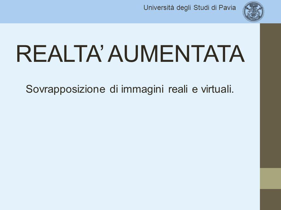 Università degli Studi di Pavia REALTA' AUMENTATA Sovrapposizione di immagini reali e virtuali.