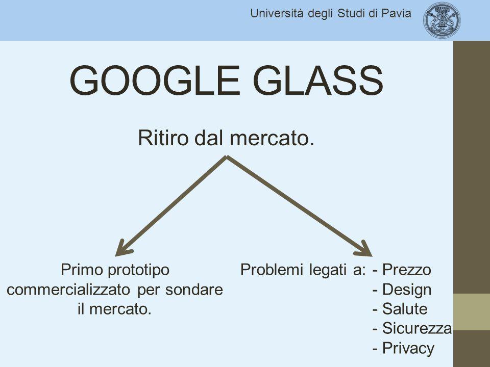 Università degli Studi di Pavia GOOGLE GLASS Ritiro dal mercato. Primo prototipo commercializzato per sondare il mercato. - Prezzo - Design - Salute -