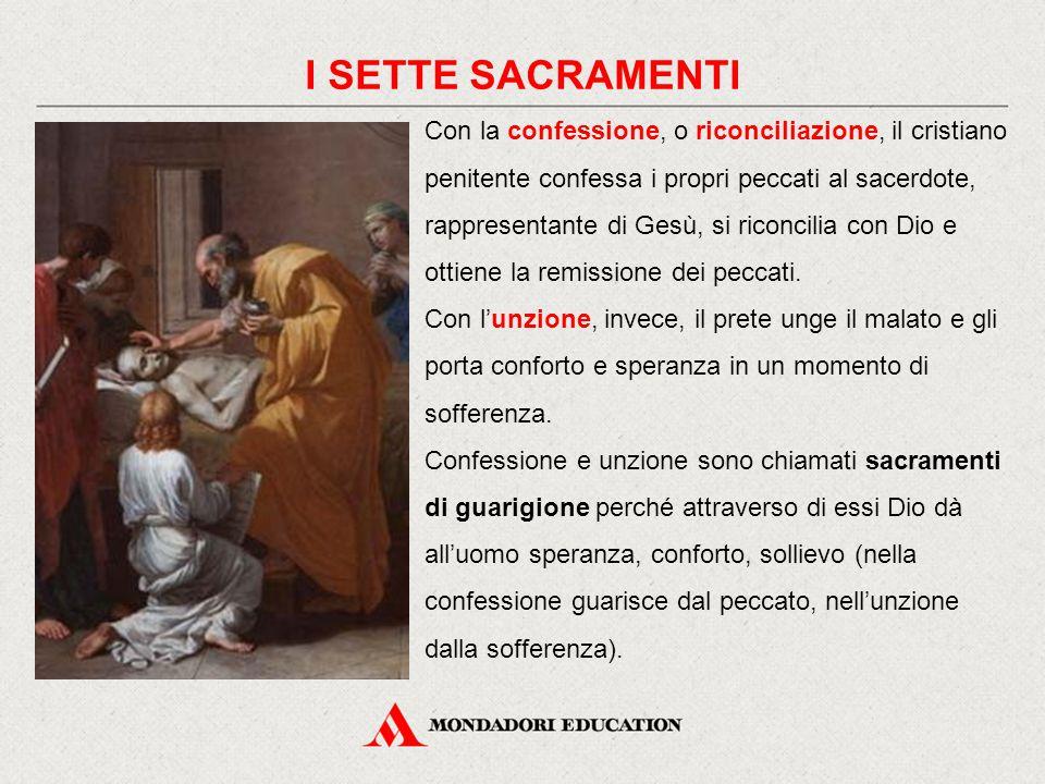 Con la confessione, o riconciliazione, il cristiano penitente confessa i propri peccati al sacerdote, rappresentante di Gesù, si riconcilia con Dio e ottiene la remissione dei peccati.