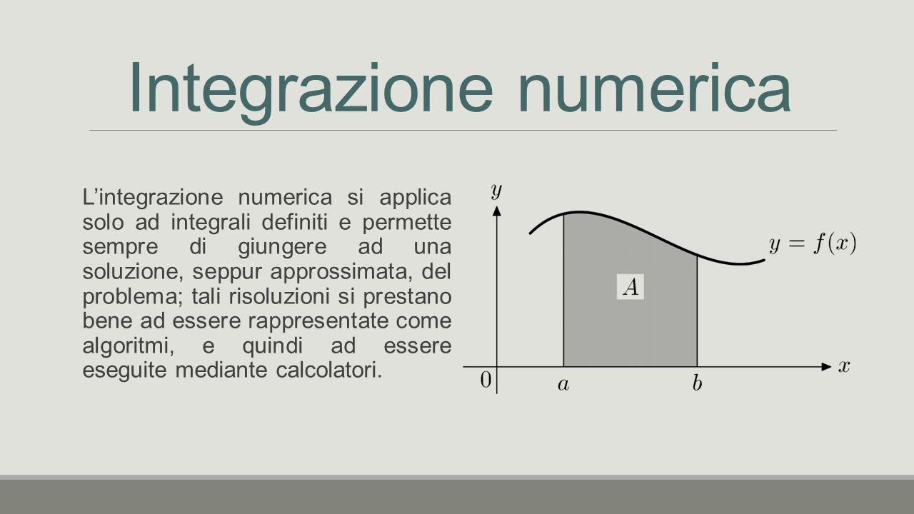 Integrazione numerica L'integrazione numerica si applica solo ad integrali definiti e permette sempre di giungere ad una soluzione, seppur approssimata, del problema; tali risoluzioni si prestano bene ad essere rappresentate come algoritmi, e quindi ad essere eseguite mediante calcolatori.