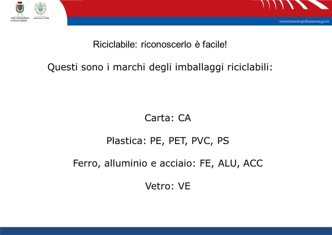 17 Carta: CA Plastica: PE, PET, PVC, PS Ferro, alluminio e acciaio: FE, ALU, ACC Vetro: VE Riciclabile: riconoscerlo è facile! Questi sono i marchi de