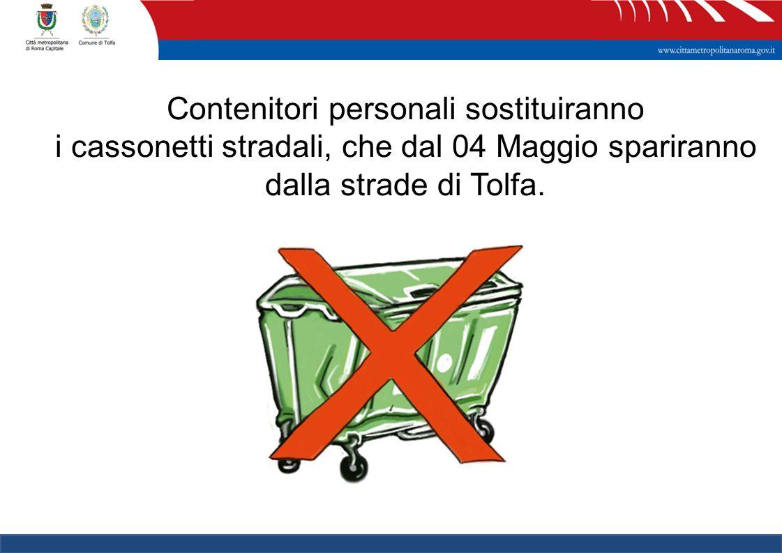 9 Contenitori personali sostituiranno i cassonetti stradali, che dal 04 Maggio spariranno dalla strade di Tolfa.