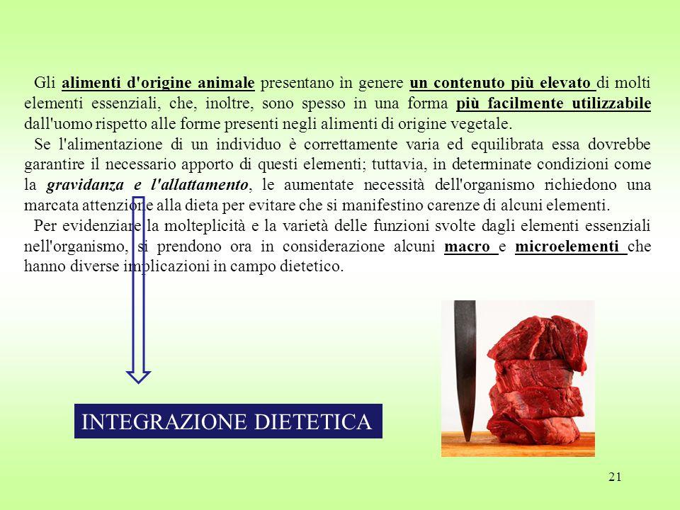 21 Gli alimenti d origine animale presentano ìn genere un contenuto più elevato di molti elementi essenziali, che, inoltre, sono spesso in una forma più facilmente utilizzabile dall uomo rispetto alle forme presenti negli alimenti di origine vegetale.