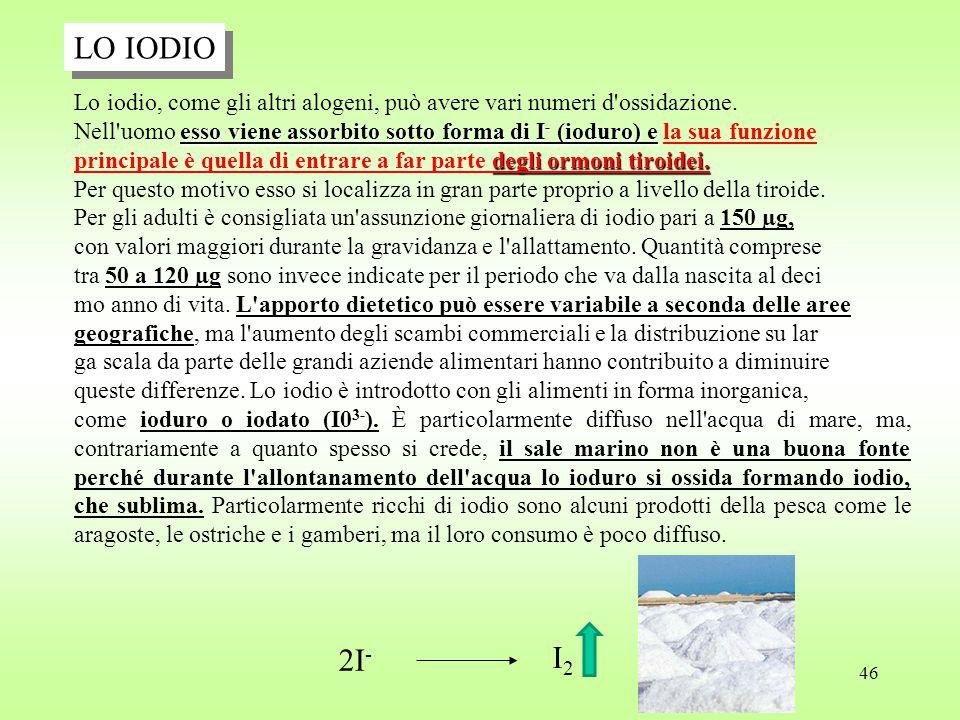 46 LO IODIO Lo iodio, come gli altri alogeni, può avere vari numeri d ossidazione.