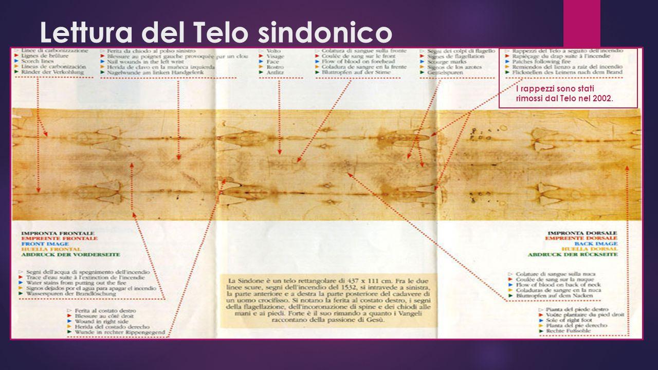Lettura del Telo sindonico I rappezzi sono stati rimossi dal Telo nel 2002.