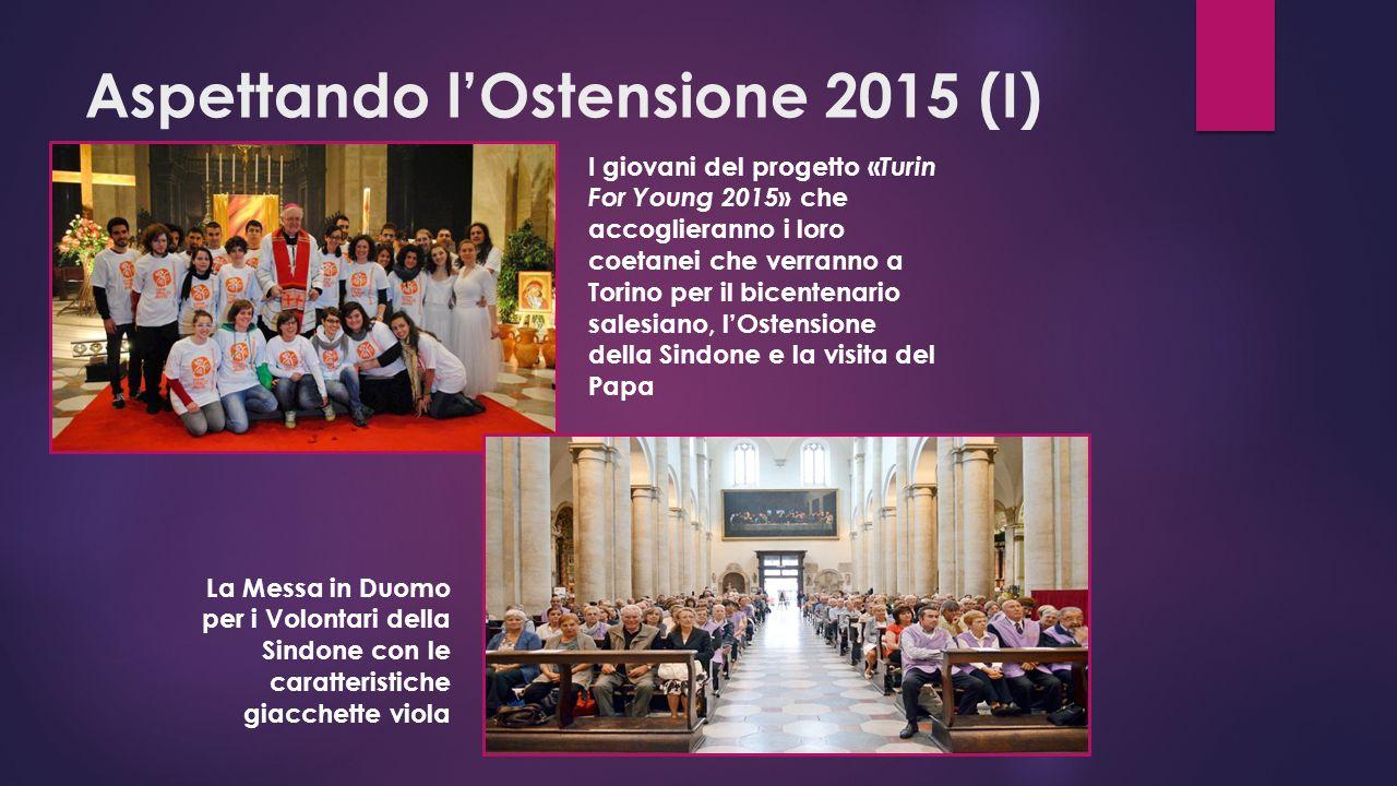 Aspettando l'Ostensione 2015 (I) I giovani del progetto « Turin For Young 2015 » che accoglieranno i loro coetanei che verranno a Torino per il bicentenario salesiano, l'Ostensione della Sindone e la visita del Papa La Messa in Duomo per i Volontari della Sindone con le caratteristiche giacchette viola