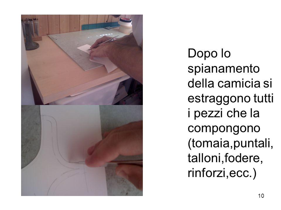 10 Dopo lo spianamento della camicia si estraggono tutti i pezzi che la compongono (tomaia,puntali, talloni,fodere, rinforzi,ecc.)