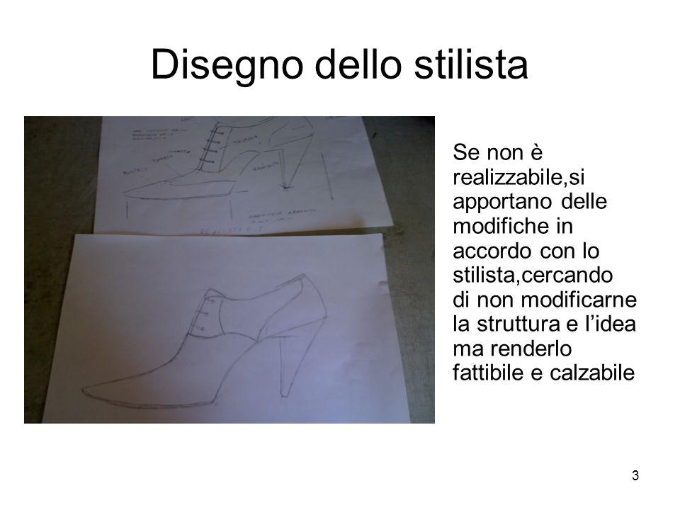 3 Disegno dello stilista Se non è realizzabile,si apportano delle modifiche in accordo con lo stilista,cercando di non modificarne la struttura e l'idea ma renderlo fattibile e calzabile