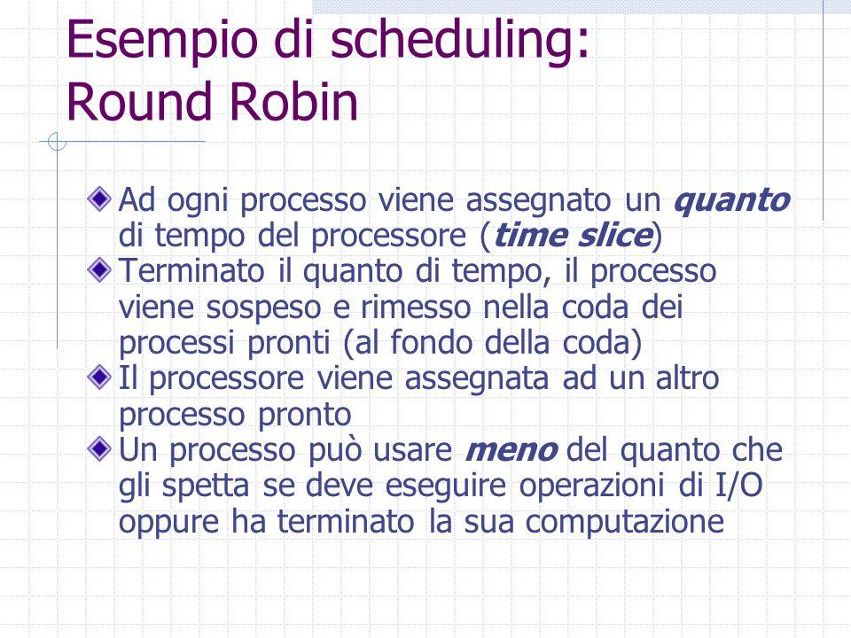 Esempio di scheduling: Round Robin Ad ogni processo viene assegnato un quanto di tempo del processore (time slice) Terminato il quanto di tempo, il processo viene sospeso e rimesso nella coda dei processi pronti (al fondo della coda) Il processore viene assegnata ad un altro processo pronto Un processo può usare meno del quanto che gli spetta se deve eseguire operazioni di I/O oppure ha terminato la sua computazione