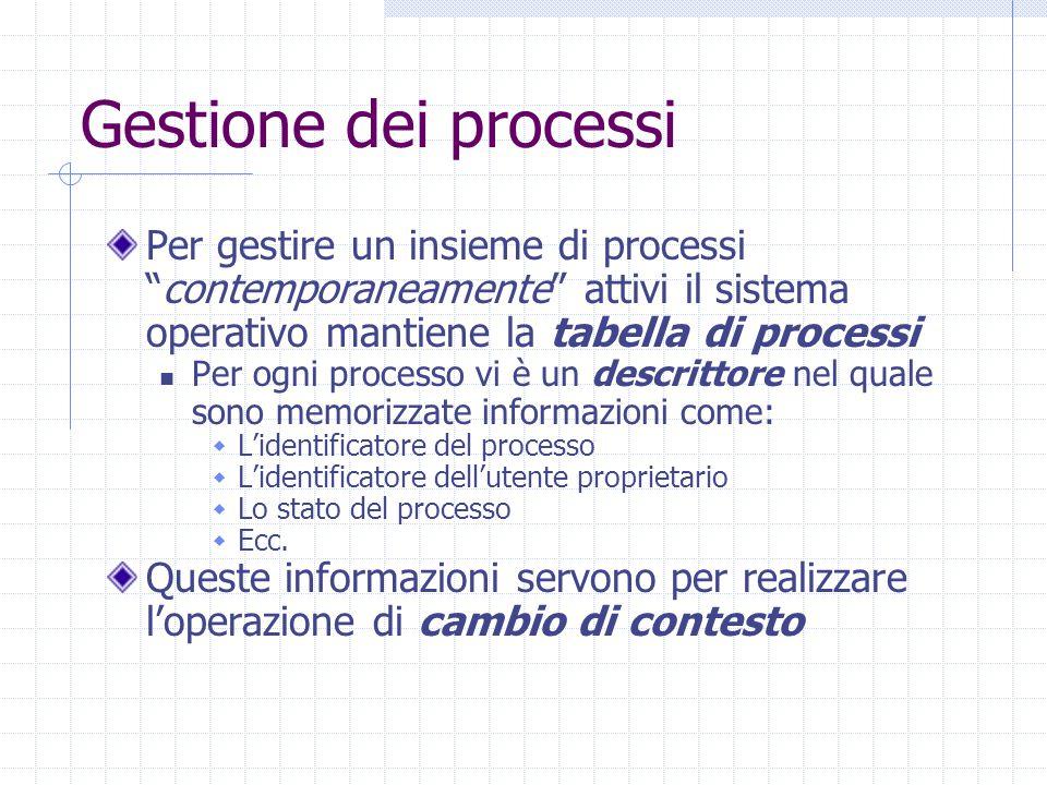 Gestione dei processi Per gestire un insieme di processi contemporaneamente attivi il sistema operativo mantiene la tabella di processi Per ogni processo vi è un descrittore nel quale sono memorizzate informazioni come:  L'identificatore del processo  L'identificatore dell'utente proprietario  Lo stato del processo  Ecc.