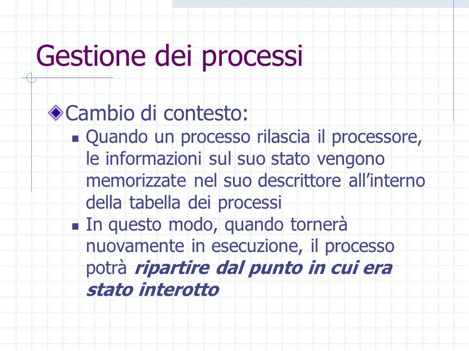 Gestione dei processi Cambio di contesto: Quando un processo rilascia il processore, le informazioni sul suo stato vengono memorizzate nel suo descrittore all'interno della tabella dei processi In questo modo, quando tornerà nuovamente in esecuzione, il processo potrà ripartire dal punto in cui era stato interotto
