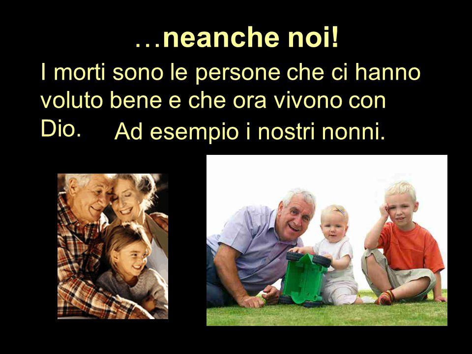 …neanche noi! I morti sono le persone che ci hanno voluto bene e che ora vivono con Dio. Ad esempio i nostri nonni.