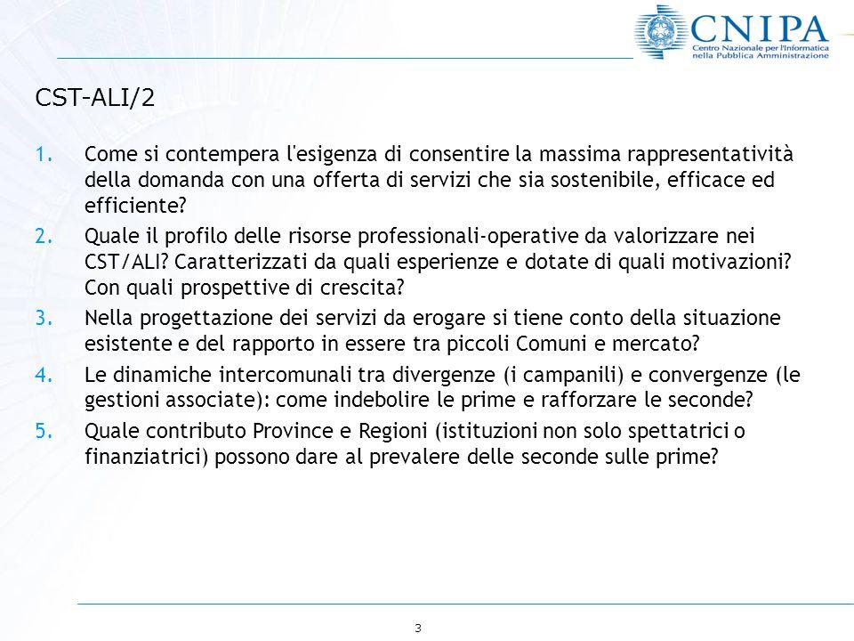 3 CST-ALI/2 1.Come si contempera l esigenza di consentire la massima rappresentatività della domanda con una offerta di servizi che sia sostenibile, efficace ed efficiente.