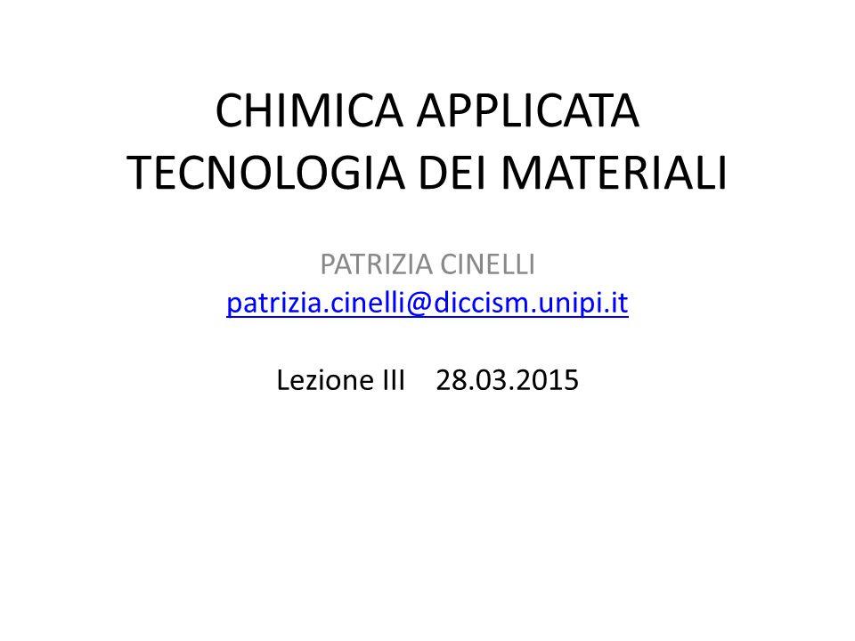 CHIMICA APPLICATA TECNOLOGIA DEI MATERIALI PATRIZIA CINELLI patrizia.cinelli@diccism.unipi.it Lezione III 28.03.2015