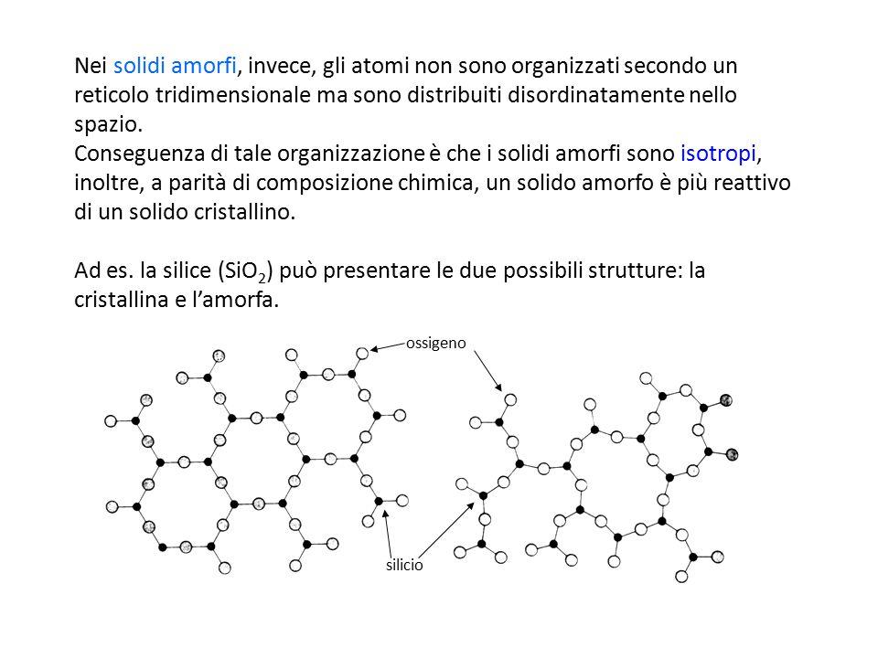 Nei solidi amorfi, invece, gli atomi non sono organizzati secondo un reticolo tridimensionale ma sono distribuiti disordinatamente nello spazio. Conse
