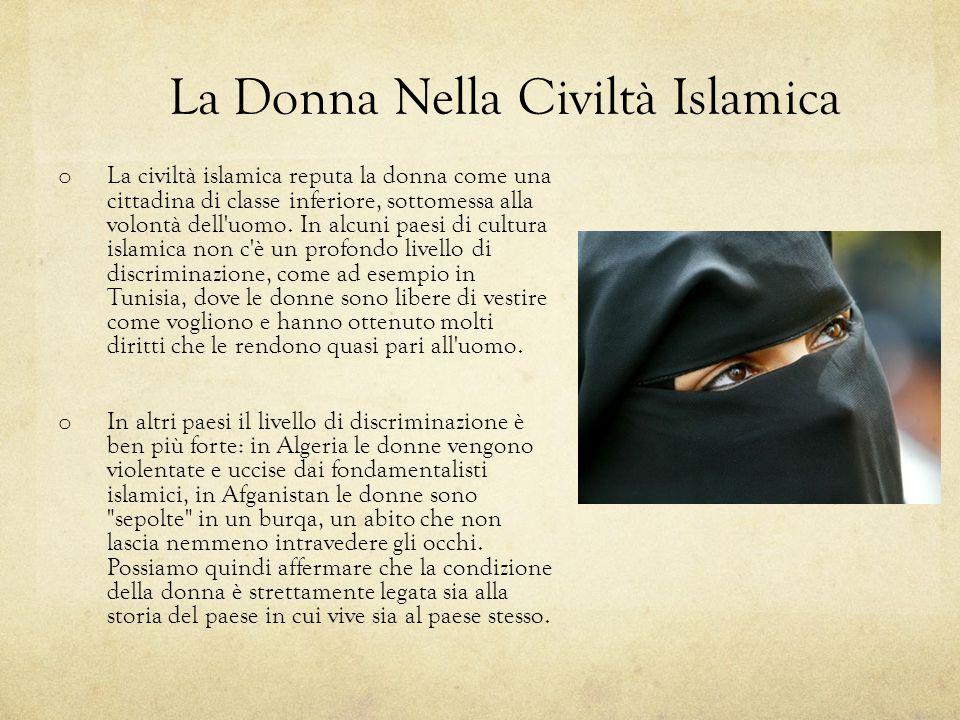 La Donna Nella Civiltà Islamica o La civiltà islamica reputa la donna come una cittadina di classe inferiore, sottomessa alla volontà dell'uomo. In al