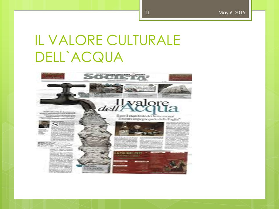 IL VALORE CULTURALE DELL`ACQUA May 6, 201511