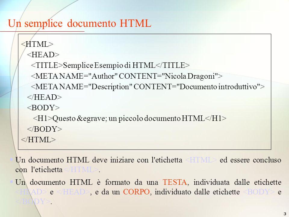 3 Un semplice documento HTML  Un documento HTML deve iniziare con l etichetta ed essere concluso con l etichetta.