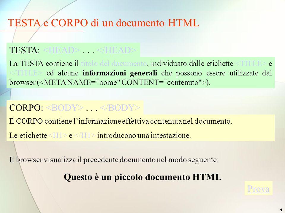 4 TESTA e CORPO di un documento HTML TESTA:...
