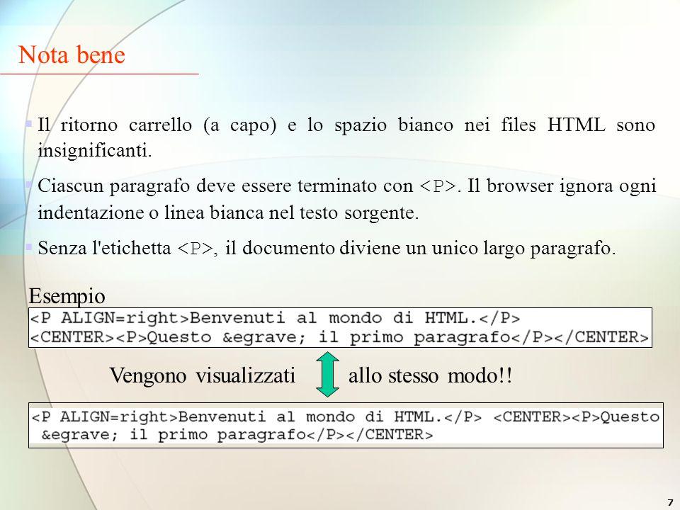 7  Il ritorno carrello (a capo) e lo spazio bianco nei files HTML sono insignificanti.