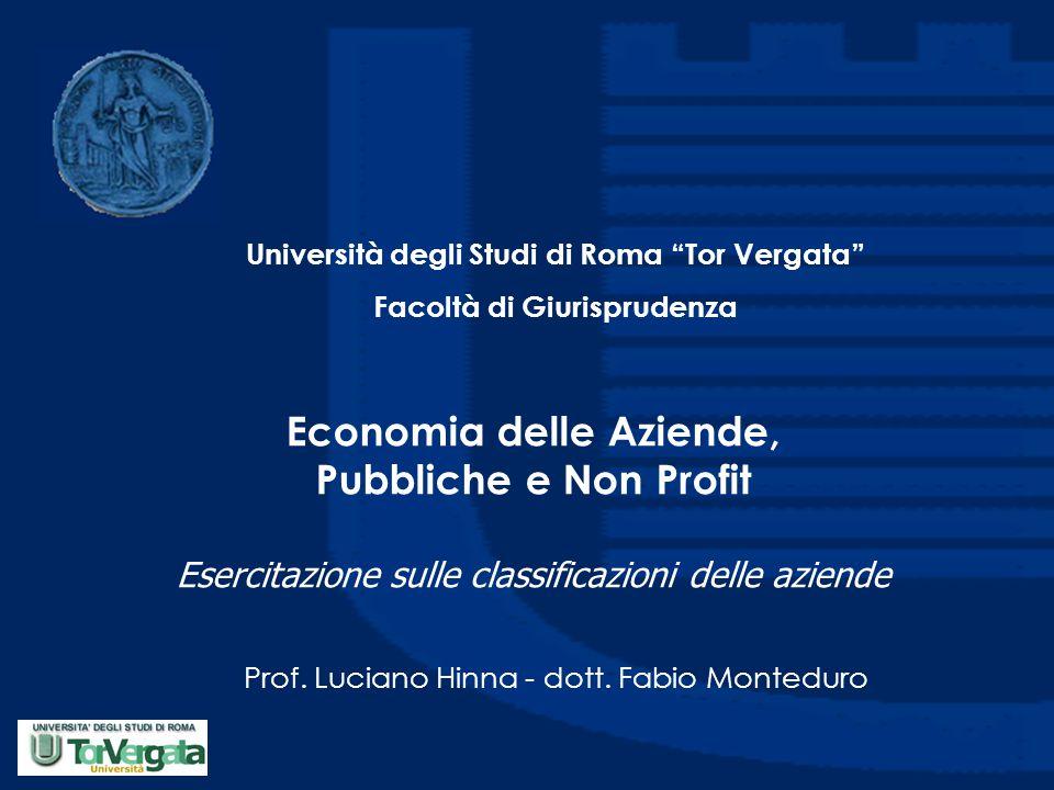 Economia delle Aziende, Pubbliche e Non Profit Esercitazione sulle classificazioni delle aziende Prof.