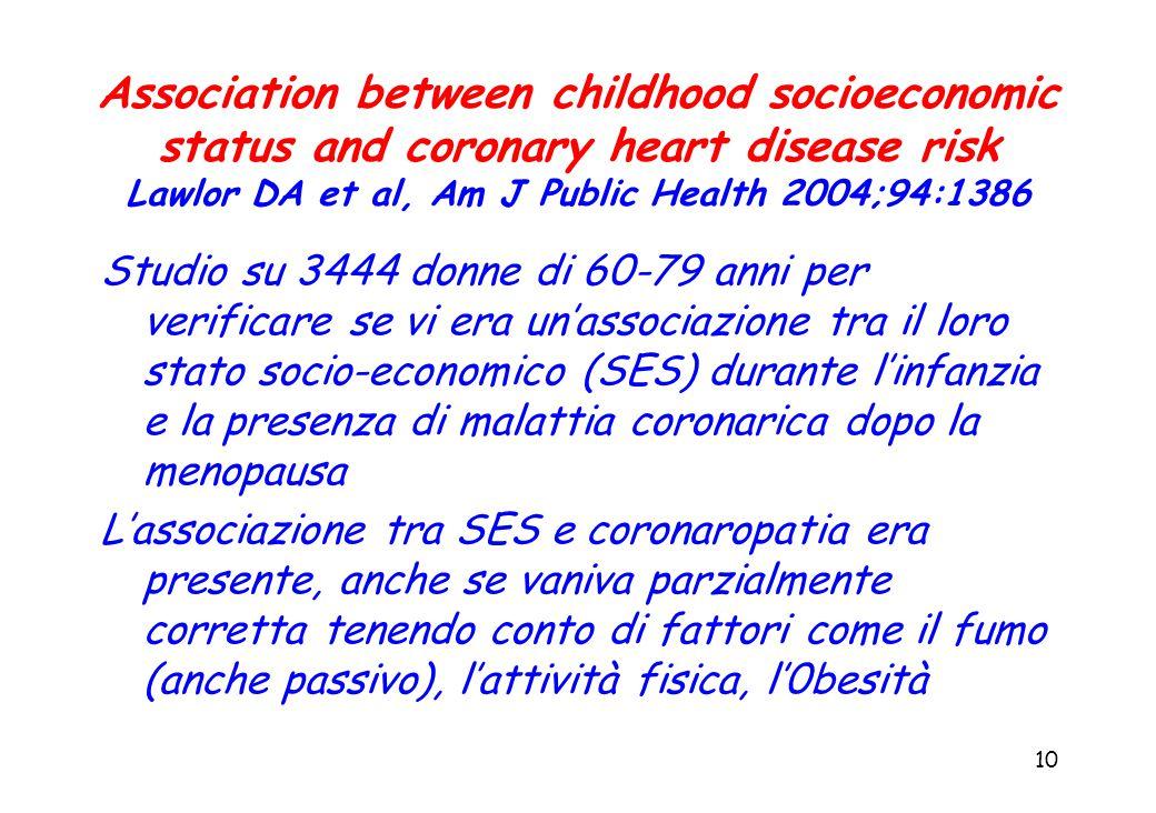 10 Association between childhood socioeconomic status and coronary heart disease risk Lawlor DA et al, Am J Public Health 2004;94:1386 Studio su 3444 donne di 60-79 anni per verificare se vi era un'associazione tra il loro stato socio-economico (SES) durante l'infanzia e la presenza di malattia coronarica dopo la menopausa L'associazione tra SES e coronaropatia era presente, anche se vaniva parzialmente corretta tenendo conto di fattori come il fumo (anche passivo), l'attività fisica, l'0besità