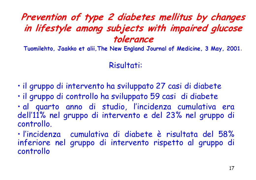 17 Risultati: il gruppo di intervento ha sviluppato 27 casi di diabete il gruppo di controllo ha sviluppato 59 casi di diabete al quarto anno di studio, l'incidenza cumulativa era dell'11% nel gruppo di intervento e del 23% nel gruppo di controllo.