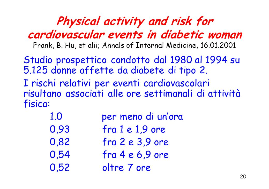 20 Physical activity and risk for cardiovascular events in diabetic woman Frank, B.