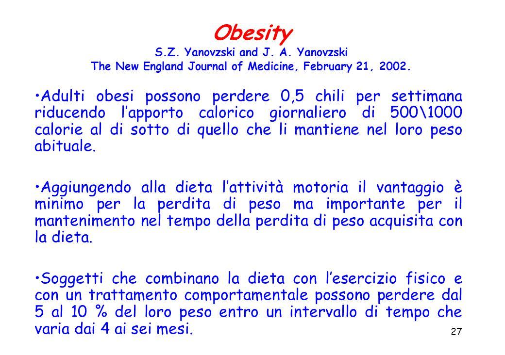 27 Adulti obesi possono perdere 0,5 chili per settimana riducendo l'apporto calorico giornaliero di 500\1000 calorie al di sotto di quello che li mantiene nel loro peso abituale.
