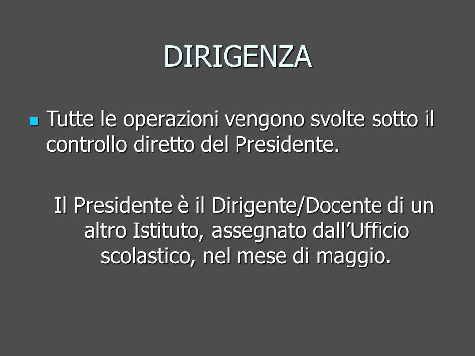 DIRIGENZA Tutte le operazioni vengono svolte sotto il controllo diretto del Presidente.