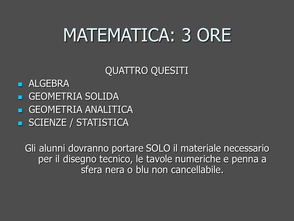 MATEMATICA: 3 ORE QUATTRO QUESITI ALGEBRA ALGEBRA GEOMETRIA SOLIDA GEOMETRIA SOLIDA GEOMETRIA ANALITICA GEOMETRIA ANALITICA SCIENZE / STATISTICA SCIENZE / STATISTICA Gli alunni dovranno portare SOLO il materiale necessario per il disegno tecnico, le tavole numeriche e penna a sfera nera o blu non cancellabile.