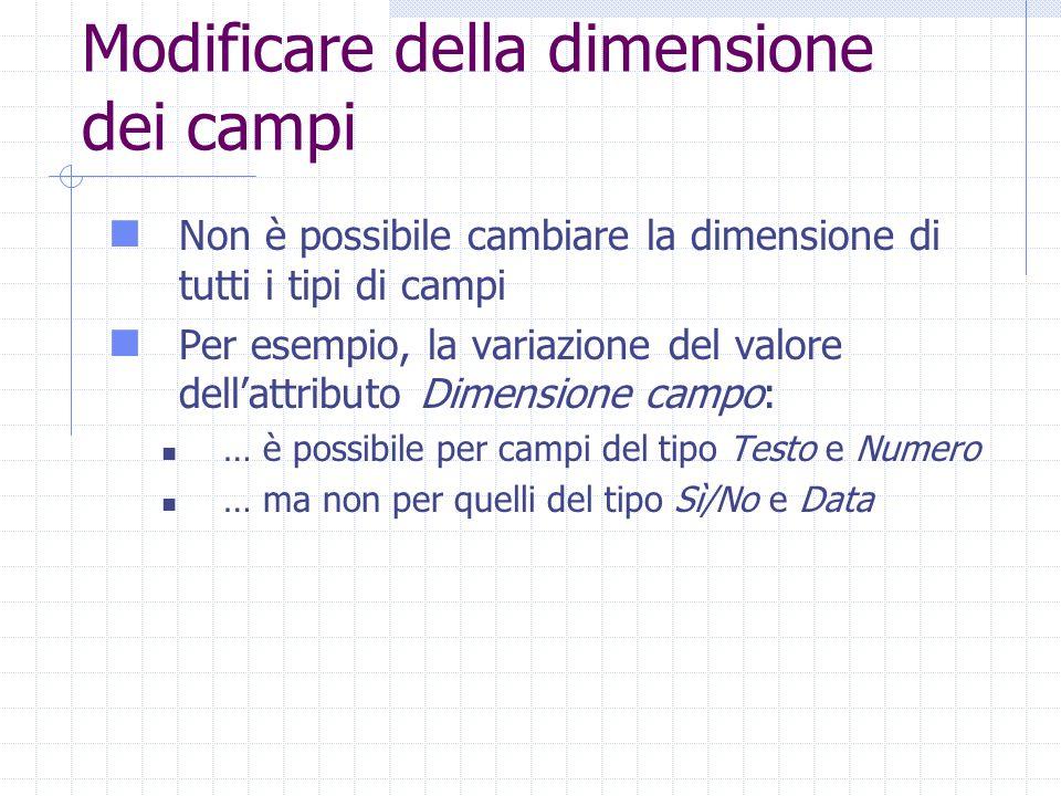 Modificare della dimensione dei campi Non è possibile cambiare la dimensione di tutti i tipi di campi Per esempio, la variazione del valore dell'attributo Dimensione campo: … è possibile per campi del tipo Testo e Numero … ma non per quelli del tipo Sì/No e Data